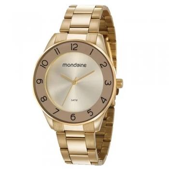 Relógio Feminino Mondaine Original Garantia 1 Ano A Prova D' Agua Ouro 53637lpmvde1