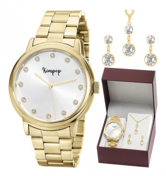 Relógio Kimpop Feminino Dourado Kit Colar Brincos Original