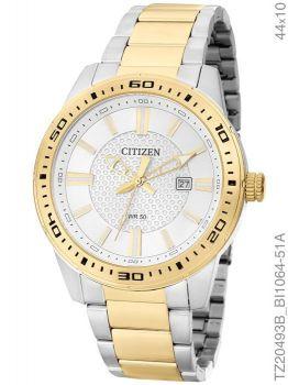 Relógio Masculino Analógico Citizen TZ20493B Prata Dourado