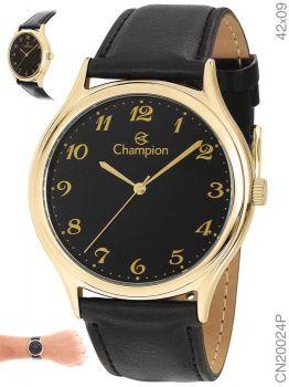 Relógio Masculino Champion Cn20024p Dourado Couro