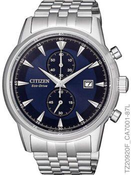 Relógio Masculino Citizen TZ20920F Eco-Drive Prata Fundo Azul
