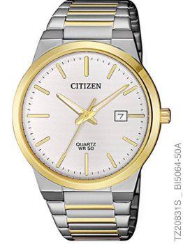 Relogio Masculino Luxo Citizen TZ20831S Prata e Dourado