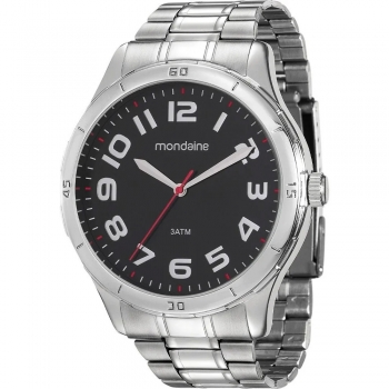 Relógio Masculino Mondaine Prateado Barato Original Garantia Prova D' Água