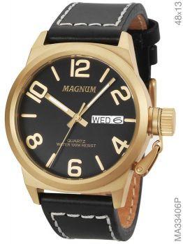 Relógio Masculino Original Magnum Couro Aço Garantia