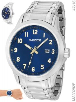 Relógio Masculino Magnum Prata Prateado Garantia