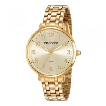 Relógio Mondaine Feminino Com Números Original C/ Garantia Á Prova D'Água Ouro
