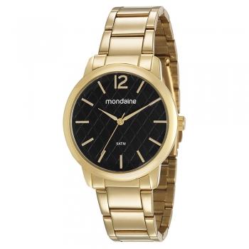 Relógio Mondaine Feminino Dourado Preto Casual