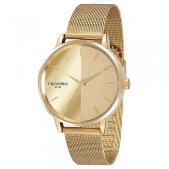 Relógio Mondaine Feminino Espelhado Dourado Rose Gold