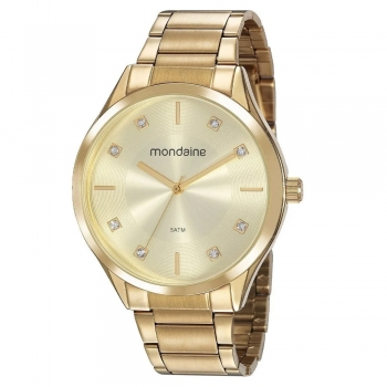 Relógio Mondaine Feminino Original Com Garantia A Prova D'Água Ouro