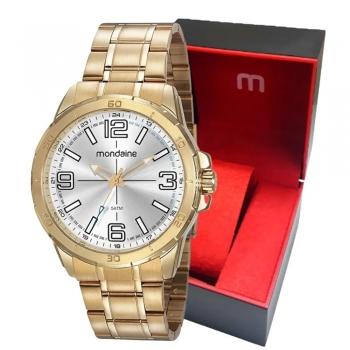Relógio Mondaine Grande Original Prova D'água 5 Atm Ouro Com Garantia