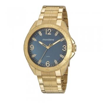 Relógio Mondaine Masculino Dourado Fundo Azul Casual