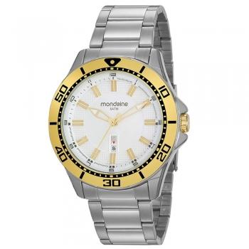 Relógio Mondaine Masculino Dourado Prata Grande Original
