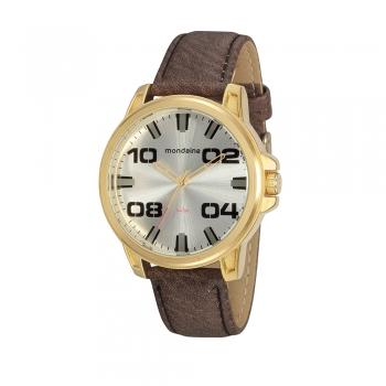 Relógio Mondaine Masculino Pulseira De Couro Dourado