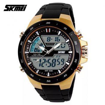 Relógio Skmei 1016 Dourado Masculino Esportivo Militar 5atm - DUPL