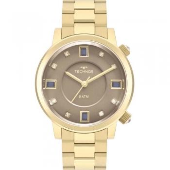 Relógio Technos Feminino Dourado Rocks Elegance Crystal Prova Dagua