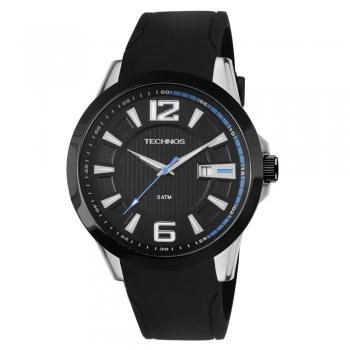 Relógio Technos Masculino Analógico Preto Azul Prova D'agua Silicone