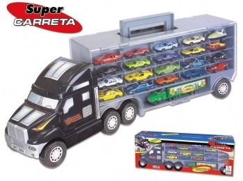 Super Carreta C/20 Carrinhos +1 Mini Carreta Menino Caminhão