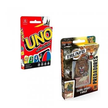 Super Kit Trunfo Predadores Grow + Jogo De Cartas Uno Copag