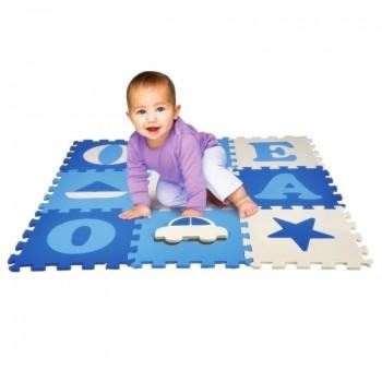 Tapete Tatame Infantil Eva Vogais Menino Azul - 9 Placas 33x33cm Bebê
