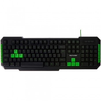 Teclado Gamer Multimidia Teclas Verdes Usb Multilaser Tc201