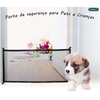 Tela Grade Retrátil Porta Proteção Cercado Canil Pet Cercadinho