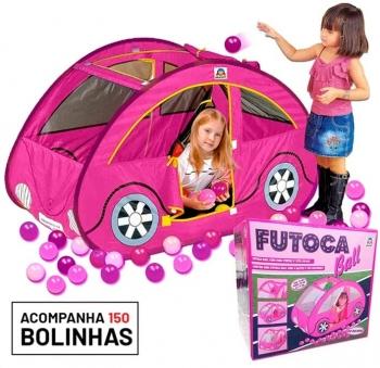 Toca Barraca Futoca Ball + 150 Bolinhas Brinquedo Rosa
