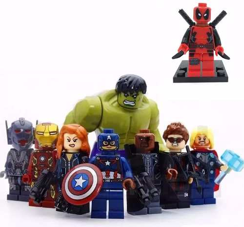 Kit 8 Vingadores Marvel Lego Guerra Civil + Deadpool