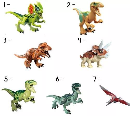 Kit 7 Legos Dinossauros Jurassic World Park Minifigures