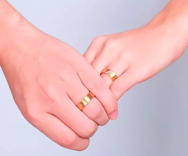 1 Unidade Aliança Noivado Casamento Banhada Folheada Ouro 6mm Top