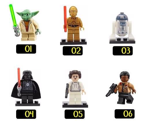 Kit 22 Bonecos Lego Star Wars Yoda Darth Vader C3po R2d2