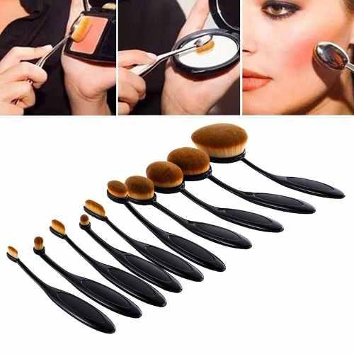 Kit Maquiagem Pincel Escova Oval 10pcs + Paleta