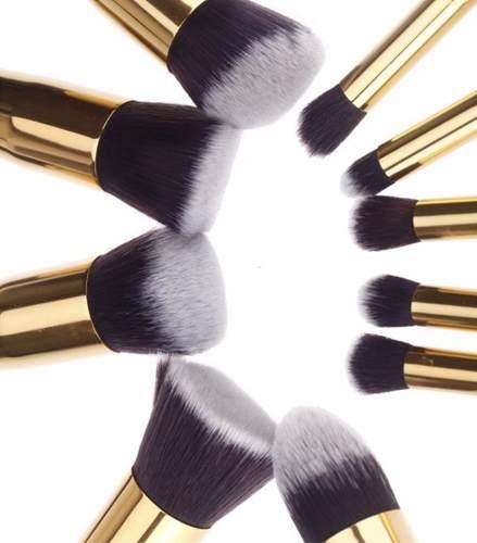 Pincel Kit Kabuki Maquiagem - F80 Ao F88 E P80 Ao P88 Dourad