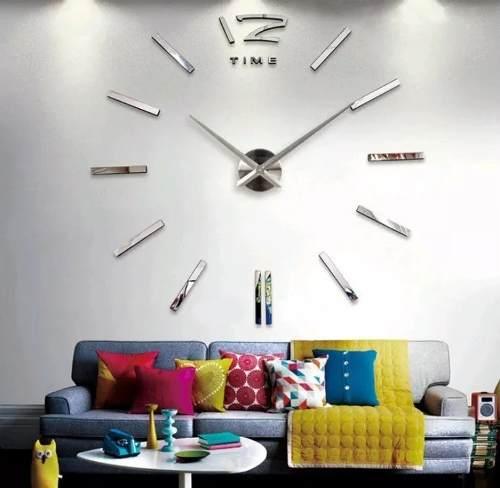 Relógio Parede Sala Grande Espelho Adesivo Decoração Lindo