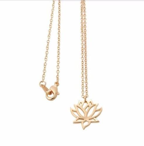 Colar Banhado A Ouro 18 K Flor De Lotus