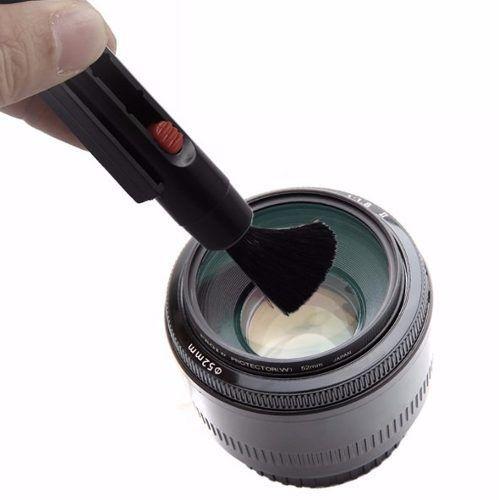 Kit Limpeza Lentes Cameras Dslr 3 Em 1 Caneta Soprador Pano