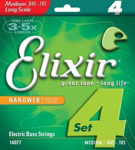 Encordoamento Elixir Baixo 4 Cordas 14077 Medium .045 -.105