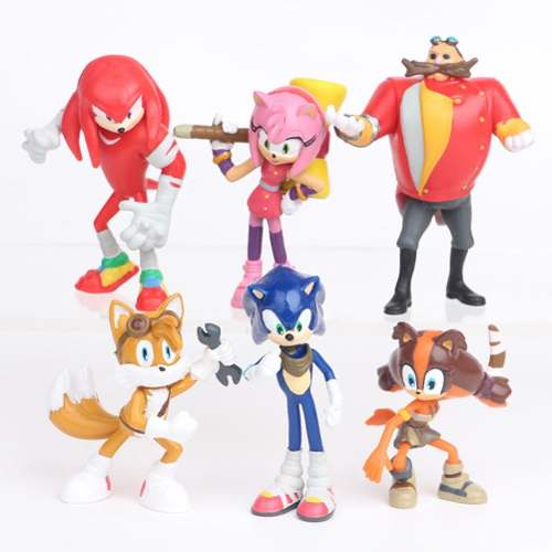 Kit 6 Miniatura Super Sonic Boom Tails Robotinik Knuckles Am