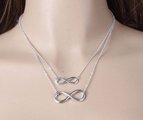 Colar Feminino Banhado A Prata Simbolo Infinito Infinity