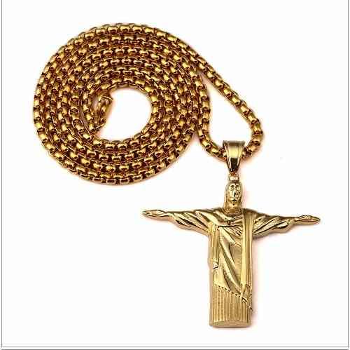 Cordão Grosso + Jesus Cristo Redentor Banhado Ouro 18k