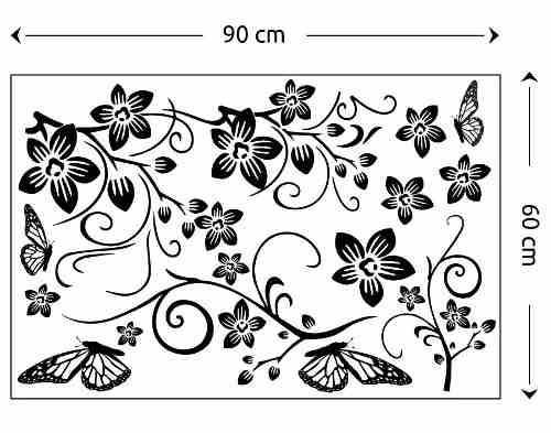 Adesivo Papel De Parede Pvc Vinílico - Floral Com Borboletas