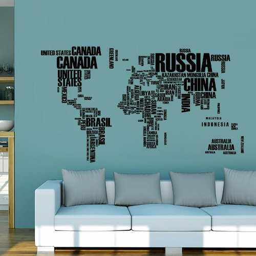 Adesivo De Parede Mapa Mundi 122 X 74 Cm Com Letras Preto