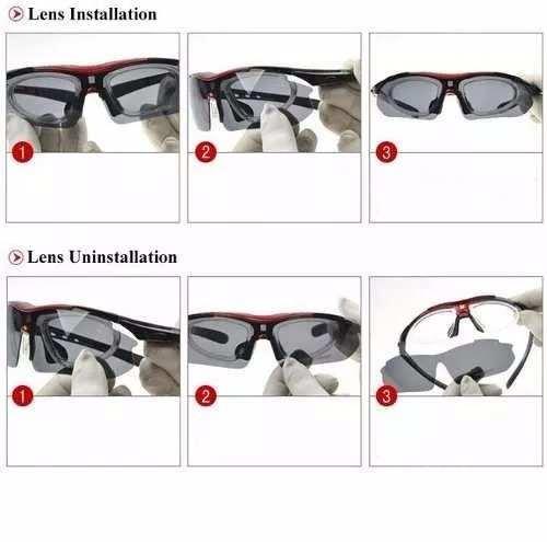 Óculos De Sol Esportivo Bike 5 Lentes - Original Oulaiou