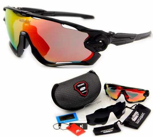 Óculos De Sol Esportivo Bike Speed 3 Lentes Queshark Preto