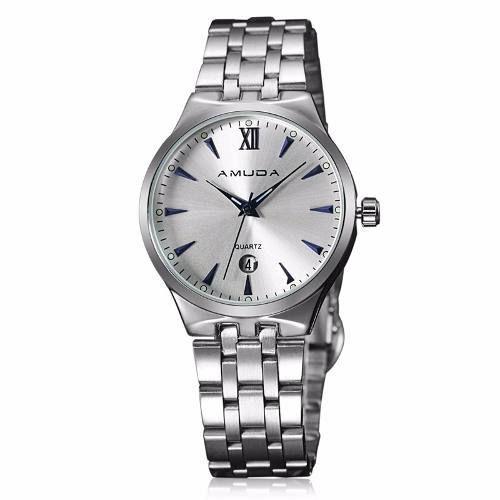 Relógio Prata Masculino Amuda Luxo - Modelo Am2010