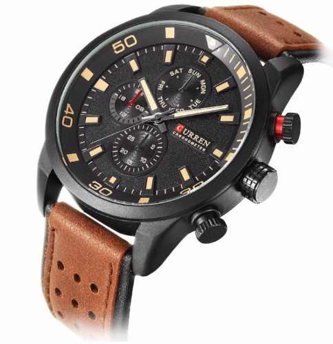 Relógio Masculino Casual Curren Casual 8250 Fundo Preto Couro