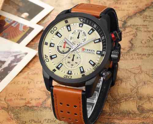 Relógio Masculino Casual Curren Casual 8250 Fundo Branco