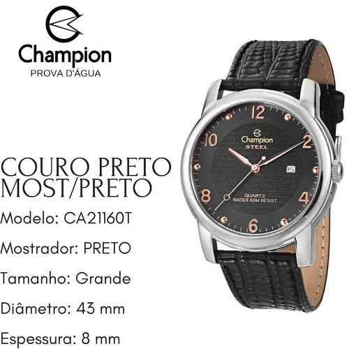 Relógio Champion Masculino Grande Couro Provad'água Ca21160t