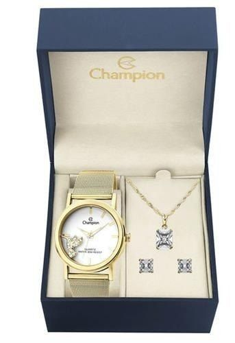 Kit Relógio Champion + Brinde Conjunto Colar Brinco Ch25838w