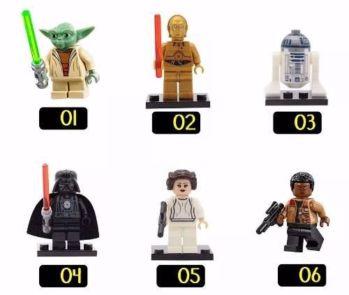Kit 6 Bonecos Lego Star Wars Yoda Darth Vader C3po R2d2
