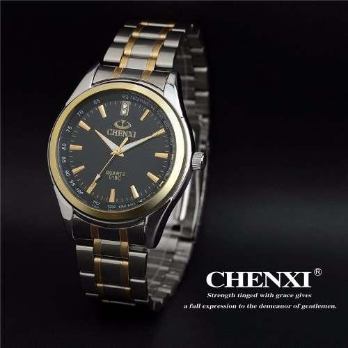 Relógio Masculino Quartzo Chenxi Lux Inoxidável Black/silver